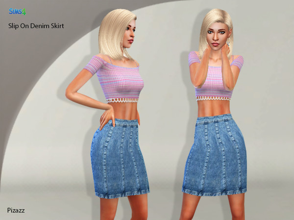 Sims 4 Slip On Demin Skirt by pizazz at TSR