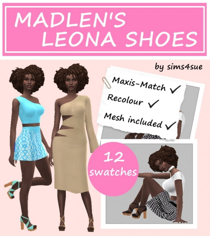 Sims 4 MADLEN'S LEONA SHOES RECOLOURS at Sims4Sue