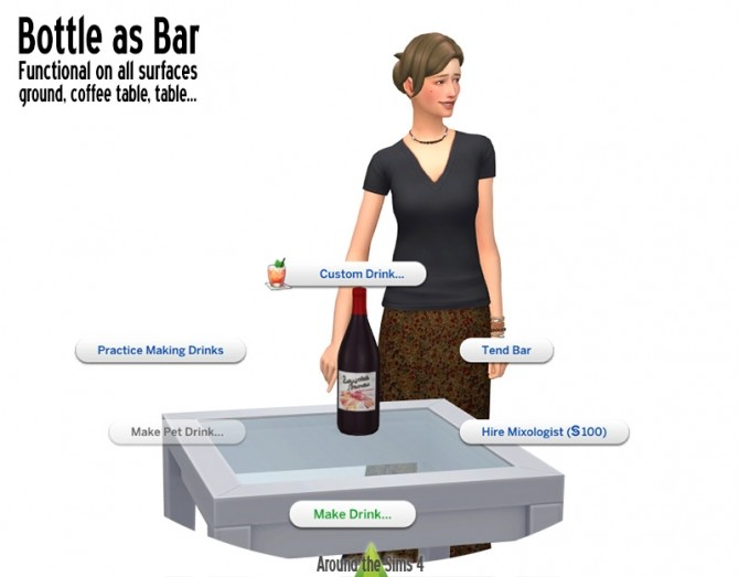 Bottles working as bar by Sandy at Around the Sims 4 image 1901 670x523 Sims 4 Updates