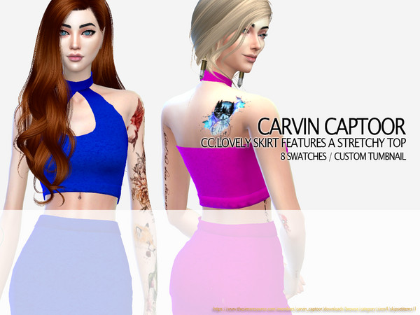 Sims 4 Lovely skirt features a stretchy top by carvin captoor at TSR