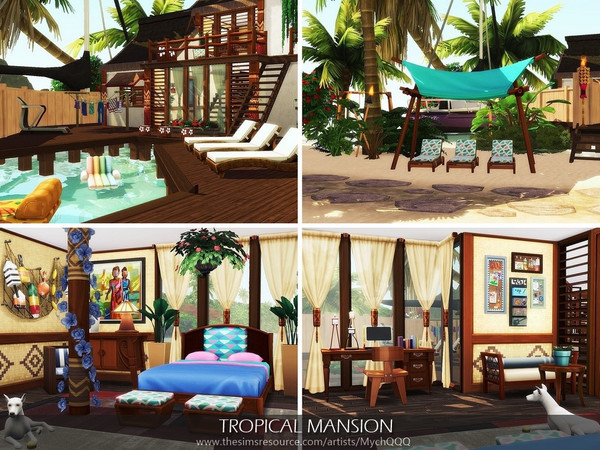 Sims 4 Tropical Mansion by MychQQQ at TSR