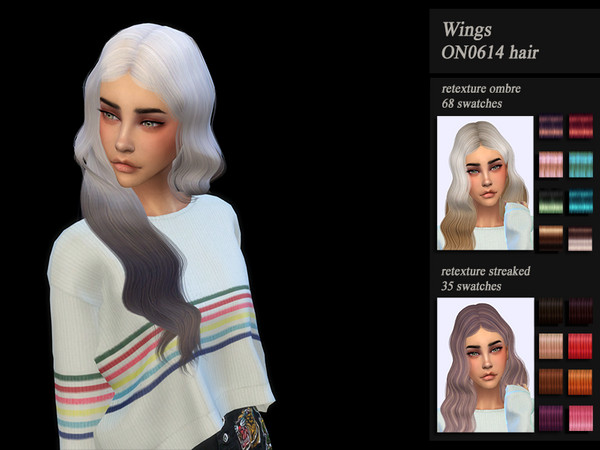 Sims 4 HoneysSims4 Recolor Retexture female hair Wings ON0614 by Jenn Honeydew Hum at TSR