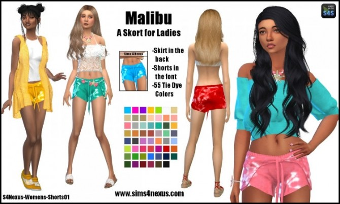Sims 4 Malibu skirt & shorts by SamanthaGump at Sims 4 Nexus