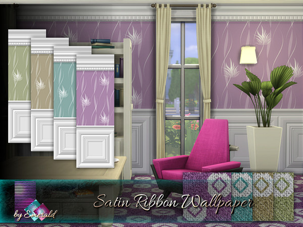 Satin Ribbon Wallpaper by emerald at TSR image 211 Sims 4 Updates