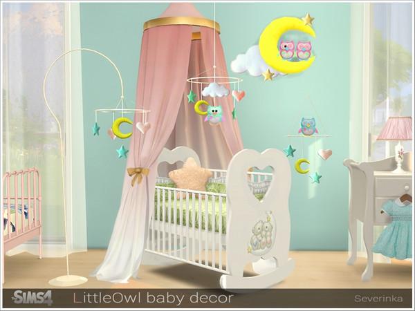 Sims 4 LittleOwl baby decor by Severinka at TSR