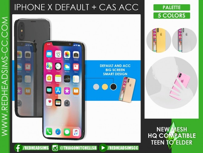 Sims 4 IPHONE X DEFAULT + CAS ACC by Thiago Mitchell at REDHEADSIMS