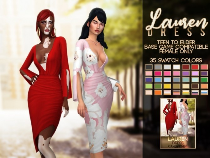 Sims 4 LAUREN DRESS at Candy Sims 4