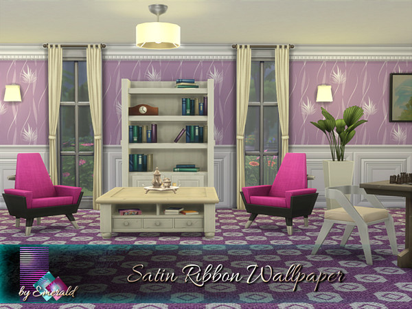 Satin Ribbon Wallpaper by emerald at TSR image 221 Sims 4 Updates