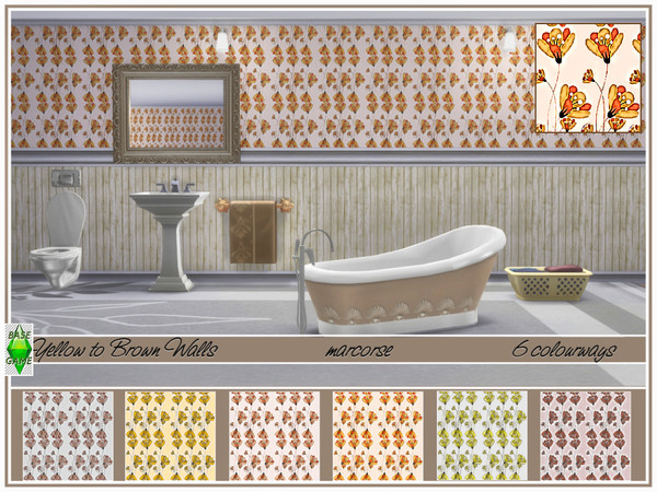 Yellow to Brown Walls by marcorse at TSR image 229 Sims 4 Updates