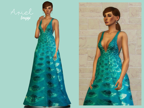 Sims 4 Ariel Gown by laupipi at TSR