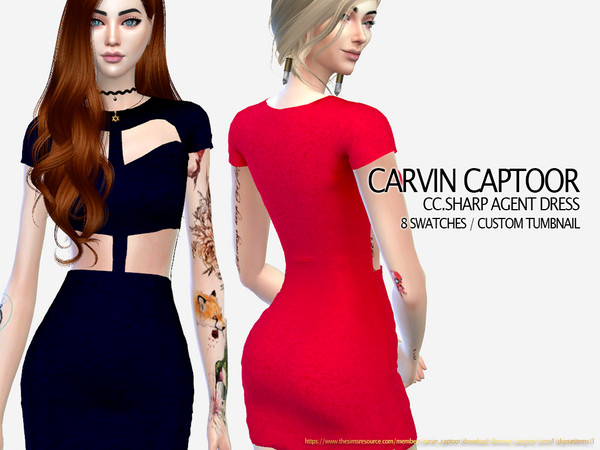 Sharp Agent Dress by carvin captoor at TSR image 2413 Sims 4 Updates