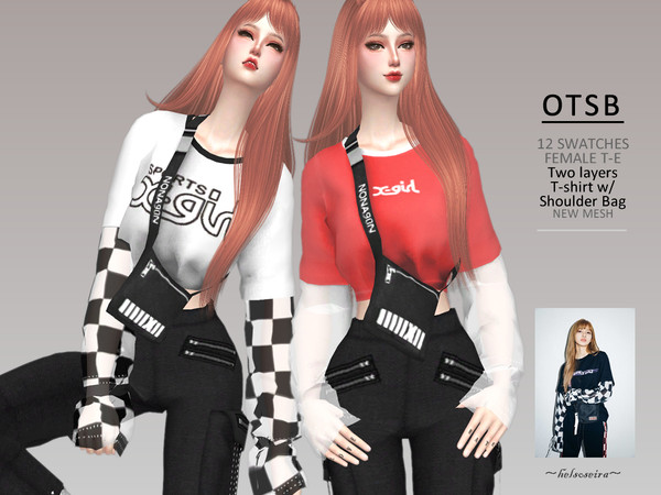 OTSB 2 Layers Top w/ Shoulder Bag by Helsoseira at TSR image 243 Sims 4 Updates