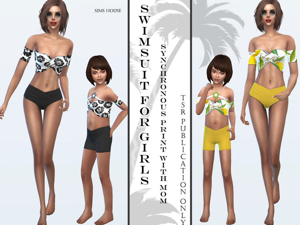 Sims 4 Tropics swimsuit for girls by Sims House at TSR