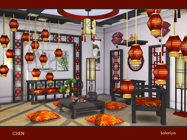 Chen set of furniture for asian interiors by soloriya at TSR image 252 Sims 4 Updates