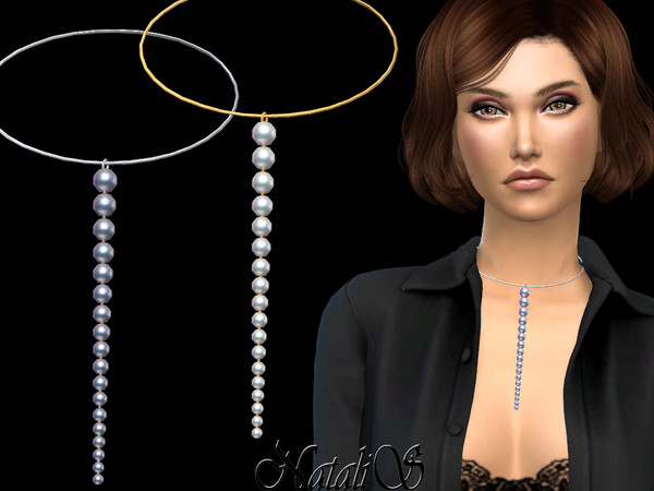Sims 4 Graduated pearl chain choker by NataliS at TSR