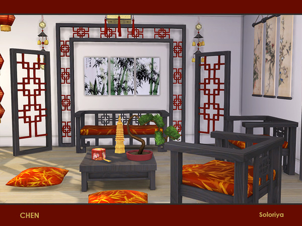 Chen set of furniture for asian interiors by soloriya at TSR image 272 Sims 4 Updates