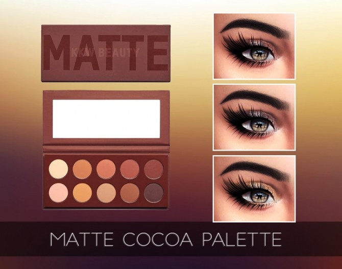 MATTE COCOA EYESHADOW PALETTE at Kenzar Sims image 2761 670x527 Sims 4 Updates