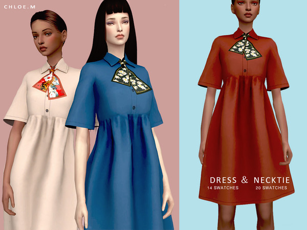 Sims 4 Dress and Necktie by ChloeMMM at TSR
