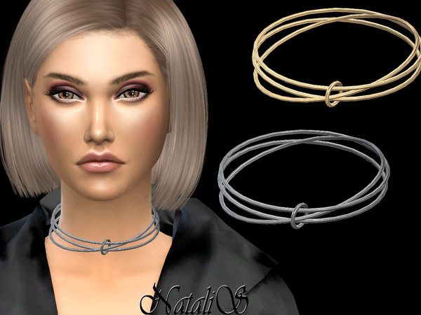 Sims 4 Interlock hoop necklace by NataliS at TSR