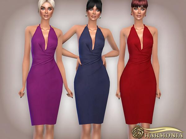 Sims 4 Bandage Drape Feminine Dress by Harmonia at TSR