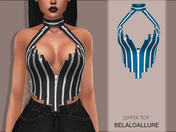 Sims 4 Zipper top by Belaloallure at TSR