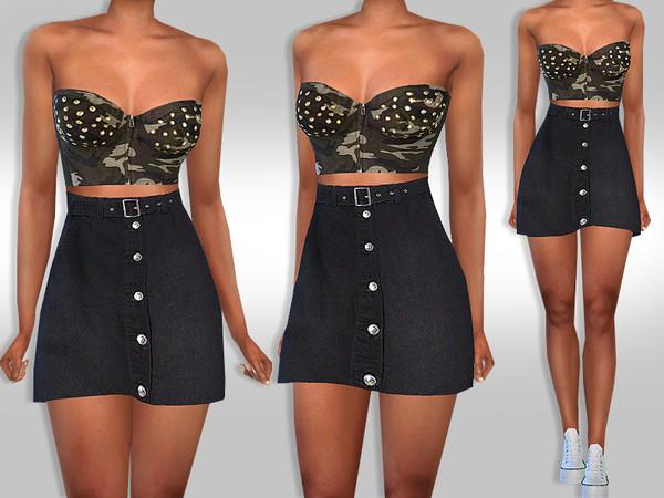 Female High Waist Black Denim Skirt by Saliwa at TSR image 3017 Sims 4 Updates