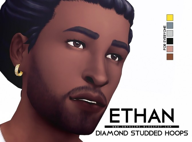 Sims 4 Ethan Diamond Studded Hoops at Onyx Sims