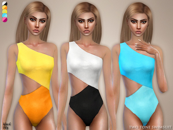 Two Tone Swimsuit by Black Lily at TSR image 3112 Sims 4 Updates