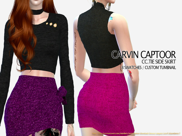 Sims 4 Tie Side Skirt by carvin captoor at TSR