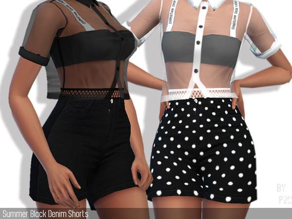 Sims 4 Summer Black Denim Shorts by Pinkzombiecupcakes at TSR
