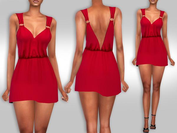 Sims 4 Female Summer Casual Mini Red Dress by Saliwa at TSR