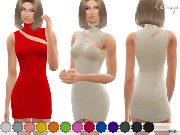 Sims 4 Ribbed Cut Out Mini Dress by ekinege at TSR