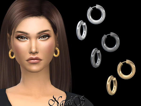 Sims 4 Tube hoop small earrings by NataliS at TSR