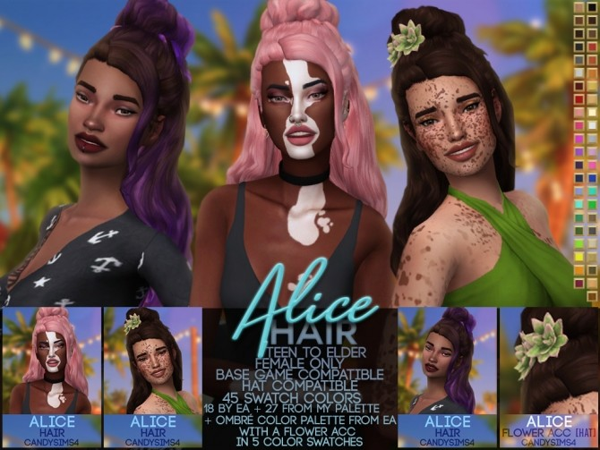 Sims 4 ALICE HAIR + FLOWER ACC at Candy Sims 4