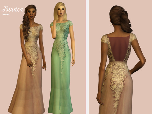 Sims 4 Bianca embellished gown by laupipi at TSR