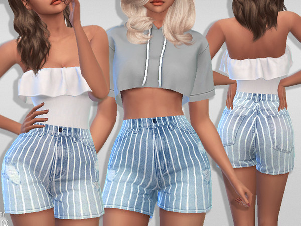 Sims 4 Summer Denim Striped Shorts by Pinkzombiecupcakes at TSR