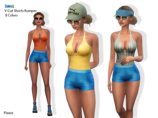 Sims 4 V Cut Shorts Romper by pizazz at TSR