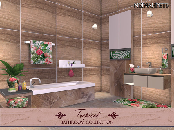 Tropical Flowers Bathroom by neinahpets at TSR image 4100 Sims 4 Updates