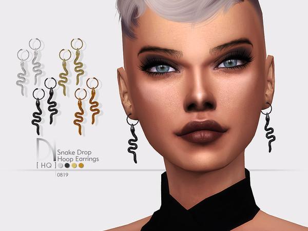 Sims 4 Snake Drop Hoop Earrings by DarkNighTt at TSR
