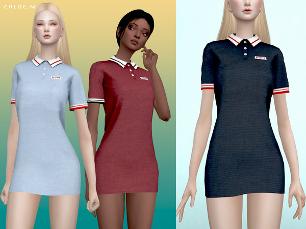Sims 4 Polo Dress by ChloeMMM at TSR