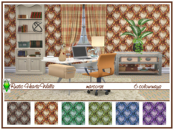Sims 4 Rustic Hearts Walls by marcorse at TSR