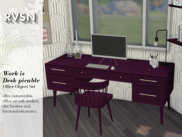 Sims 4 Work is Desk picable Office Set by RAVASHEEN at TSR