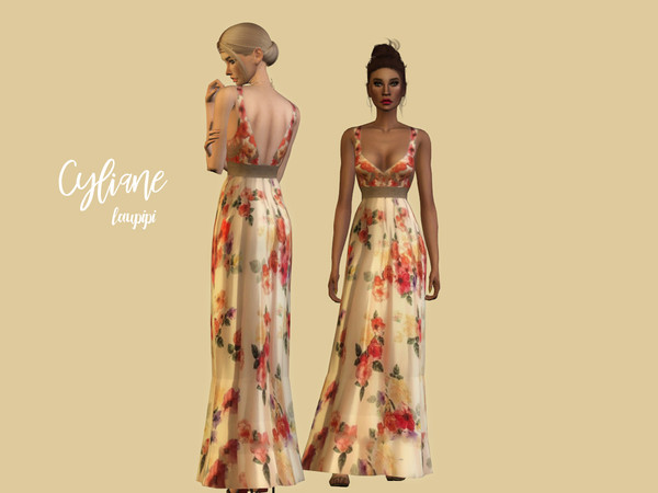 Sims 4 Cyliane floral long dress by laupipi at TSR