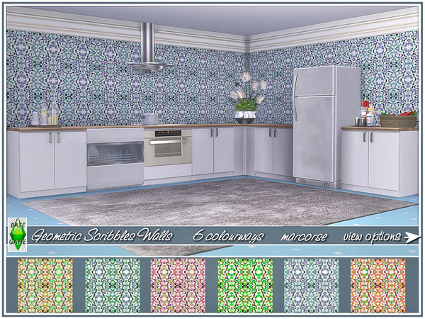 Geometric Scribbles Walls by marcorse at TSR image 4612 Sims 4 Updates