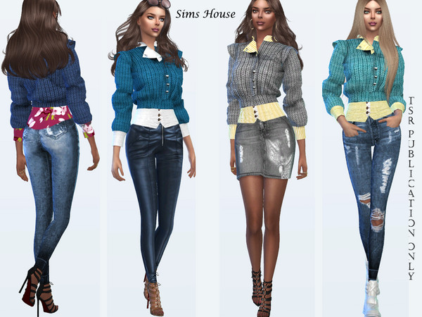 Sims 4 Womens knitted cardigan by Sims House at TSR
