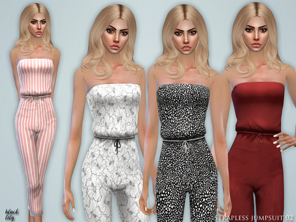 Sims 4 Strapless Jumpsuit 02 by Black Lily at TSR