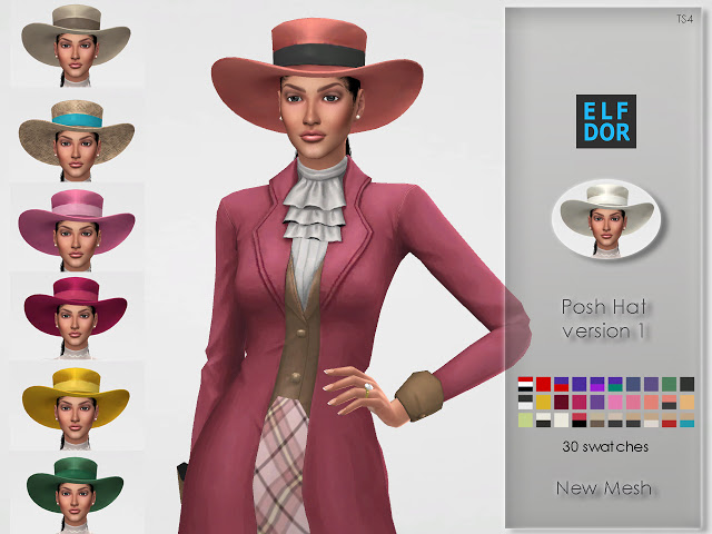 Sims 4 Posh Hat version 1 at Elfdor Sims