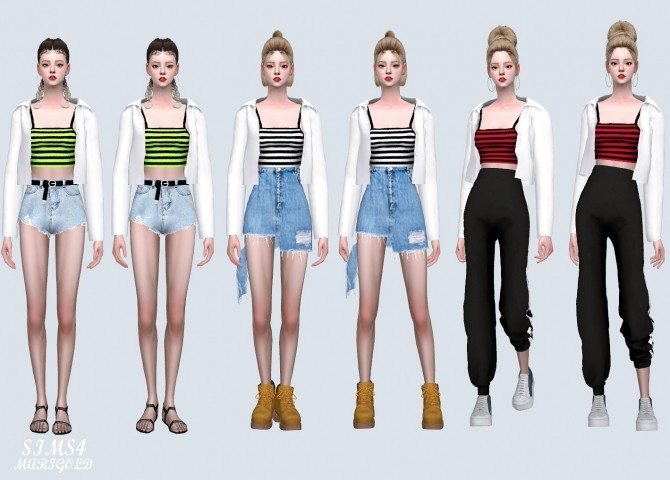 Open Shirts With Crop Top (P) at Marigold image 5510 670x480 Sims 4 Updates