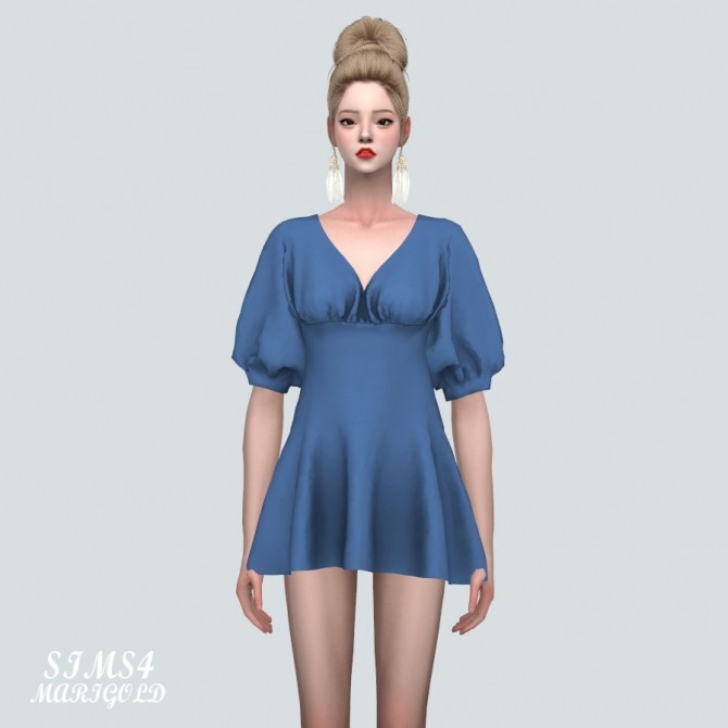 Sims 4 Elegant Puff Sleeves Mini Dress (P) at Marigold