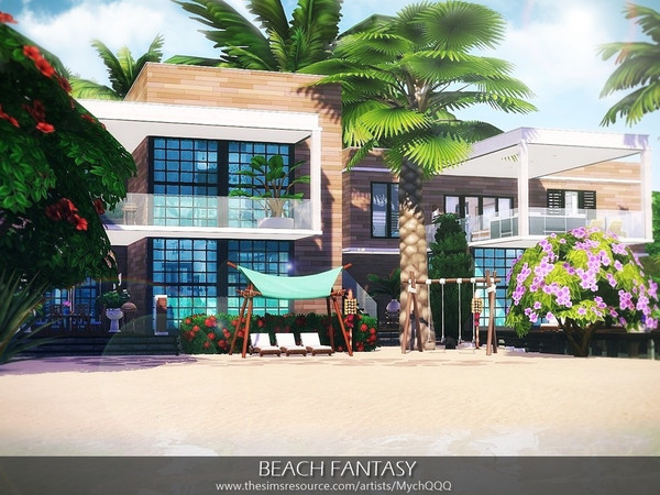 Sims 4 Beach Fantasy house by MychQQQ at TSR
